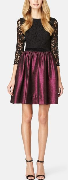 'Dolly' Lace & Metallic Piqué Fit & Flare Dress http://rstyle.me/n/wmf22n2bn
