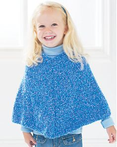 free child's poncho knitting pattern | Easy Kids' Knit Poncho | FaveCrafts.com