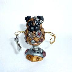 Steampunk Robot Fawn Chinese Pug Dog Miniature Polymer Clay Figurine Figure