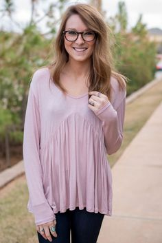 9620fe5658237 V-neck long sleeve flare top light mauve from Lush Fashion Lounge Flare Top