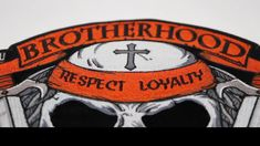 Brotherhood of Bikers Respect and Loyalty Skull Patch Biker Wear, Biker Patches, Leather Vest, Bikers, Loyalty, Respect, Black And Grey, Skull, Skulls