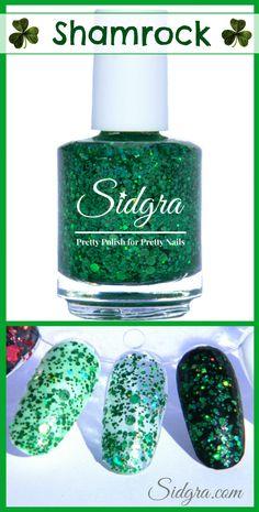 Glitter Nail Polish by Sidgra | Shamrock | Custom Blended - Full Size Bottle 5-Free, Vegan, and Cruelty Free. $9.99 Sidgra.com