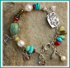 IN THE MIX Sleeping Beauty Turquoise, a rare nugget of Fox Mine Turquoise, Variscite, Ruby, Tourmaline, Serpentine, Freshwater Pearls, Artis...