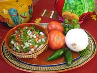 Pico de Gallo but many have never heard this so I have to explain that it is  Salsa Fresca.  This is how it's made!  I recommend Serrano's.