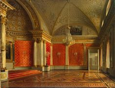 Zaryanko Peter the Great-s Room in Winter-Palace 1837 - Category:Hermitage hall 194 - Peter the Great (Small Throne) Room - Wikimedia Commons Imperial Palace, Imperial Russia, Peter The Great, Winter Palace, Hermitage Museum, Throne Room, Beauty Salon Interior, Yellow Painting, Ancient China