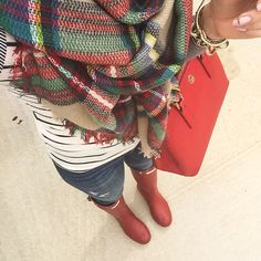 Rainy day outfit : plaid scarf, stripes long sleeve top, red hunter boots, rag and bone distressed jeans, tory burch Robinson mini tote in red