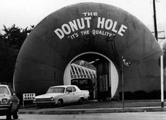 Photo of the Donut Hole in La Puente (built in 1968) from the Los Angeles Public Library archive, though it tends to be outshined by LA's better-known donut icon, Randy's Donuts.