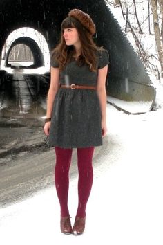 Cute winter outfit - raspberry tights, sweater dress, and acorn-esque hat ♥