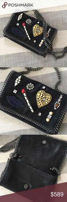 Stella McCartney Embellished Falabella Bag Stella McCartney black Falabella crossbody with embellishments. From her 2014 collection, bought for $1,135 in 2014. I absolutely love this bag just never really wear it, can be worn as a clutch or crossbody! Stella McCartney Bags Crossbody Bags