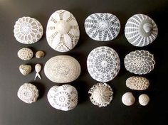 Very cool!  Crochet Covered Sea Stones...Love it!