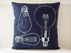 Vintage Light Bulbs silk screened cotton canvas throw pillow