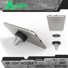 Aukey Phone Holder Car Mount Magnetic Cradle-less Car Air Vent Mount Smartphone Holder for iPhone 7Plus HTC Sony Car Holder