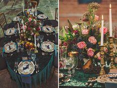 blue velvet tablecloth // photography: Sarah Maren Photography // planning + design: Kate Miller Events // venue: Beatnik Studios Sacramento, California // florals: Flourish