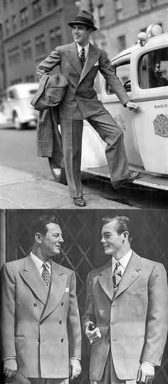 mens fashion 1940s | 40s men in pleated trousers, suit with tie, fedora | vintage mens clothing