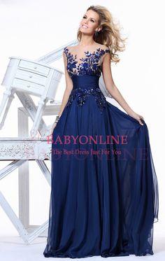 In Stock 2014 Elegant Royal Blue A-line Scoop Empire Floor-length Evening Dress Slim Chiffon Long Weddings & Events Prom Dresses