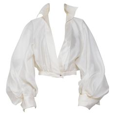 View this item and discover similar for sale at - Stunning silk blouse by Claude Montana. Beautiful draping on the sleeves. White Silk Blouse, Drape Blouse, White Blouses, Silk Top, Silk Blouses, White Flowy Shirt, Look Fashion, Fashion Outfits, Fashion Design