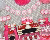 Valentine Birthday Banner Mini - Valentine's Day Banner - February Birthday - Heart Chevron Birthday Banner
