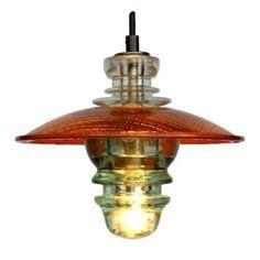 Insulator Light Pendant Lantern w/ Trafficlight Lens 510 lumens - RailroadWare, Insulator Lights, Glass Insulators, Led Pendant Lights, Lantern Pendant, Light Pendant, Industrial Lighting, Chandelier Lighting, Rustic Lighting, Metal Ceiling