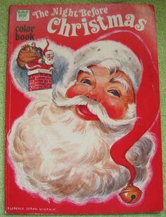 NIGHT BEFORE CHRISTMAS Coloring Book VINTAGE 1977 SANTA CLAUS REINDEER MOORE | eBay