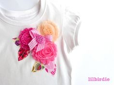 Shabby Rose Appliqued tshirt by lilbirdieshop on madeit