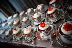No one has to cut the cake. Great for a small reception or shower. Rent white teacups if needed.