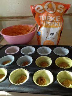 Mini Pumpkin Cheese Cakes for Pups.   1 can pumpkin puree,  8 ounces low fat cream cheese,  1/4 cup fat free sour cream,  1 tbsp honey,  3 tbsp coconut flour,  1 egg,  1 package Pumpkin flavored dog cookies.