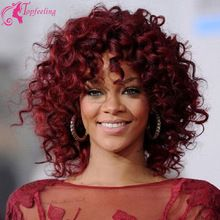 Free Shipping Rihanna Wig Glueless Human Hair Lace Front Wigs 99J Red Short Brazilian Kinky Curly Full Lace Wigs Bleached Knots(China (Mainland))
