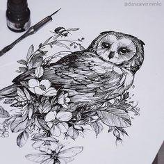 Time Tattoos, Back Tattoos, Future Tattoos, Body Art Tattoos, Owl Tattoo Design, Tattoo Sleeve Designs, Sleeve Tattoos, Witchcraft Tattoos, Owl Tattoo Drawings