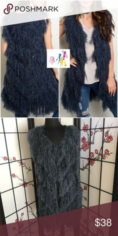 Navy Faux Fur Vest Sleeveless Navy Faux fur open front Vest Cardigan; 60% Acrylic, 20% Nylon, 20% Polyester; Sizes: S(2/4), M(6/8), L(10/12) Sweaters
