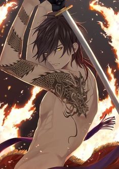 Anime Sexy, Garçon Anime Hot, Badass Anime, Anime Boys, Dark Anime Guys, Cool Anime Guys, Handsome Anime Guys, Anime Fantasy, Touken Ranbu