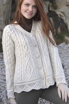 Аран ремесла ирландский Аран женщин Шерсть Кабельное вязать свитер One Button