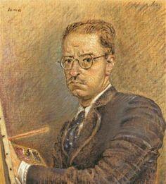 Nikos Chatzikiriakos-Gikas. «Αυτοπροσωπογραφία», λάδι σε μουσαμά του Νίκου Χατζηκυριάκου-Γκίκα (1942)