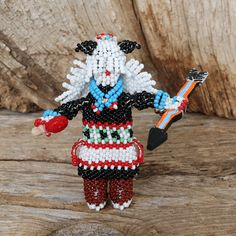 ZUNI BEADED BUFFALO DANCER BY TODD PONCHO NATIVE AMERICAN