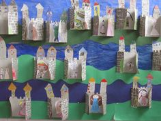 castle - folded for displaying classwork Castillo Feudal, Knights And Castles Topic, Preschool Crafts, Kids Crafts, Castle Classroom, Projects For Kids, Art Projects, Chateau Moyen Age, Fairy Tale Crafts