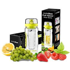 Water Bottle Infuser 32oz - Create Your Own Naturally Flavored Fruit Infused Water, Juice, Iced Tea, & Lemonade - Made of Durable Shatterproof Tritan Material - Best Infusion Water Bottle, ECO Friendly Travel Tumbler (Green) DuraFuse.com http://www.amazon.com/dp/B010MZ90O4/ref=cm_sw_r_pi_dp_YKblwb14780A1