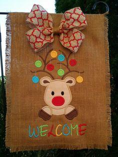Burlap Christmas Reindeer Welcome Yard Garden Flag Hanger or Door Decoration Decor chevron  quatrefoil gingham