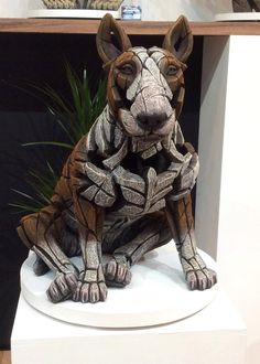 *NEW* Edge Sculpture - Bull Terrier Sitting - Red and White
