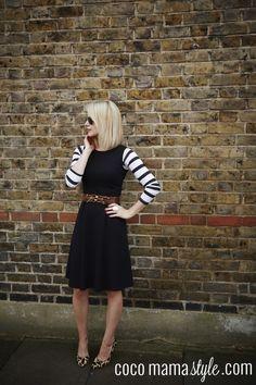 Helen cocomamastyle | LBD | breton stripe top | ;eopard shoes print clash | ray ban aviators | blonde bob | Brown accessories | black dress | mum style