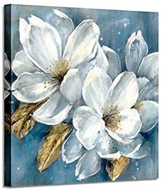 Abstract Floral Artwork Canvas White Flower Bloom Painting Graphic Picture Wall Art for Living Room - Close-up image of several always in bloom white flower & gold foils pistil painting, with blue back - Abstract Canvas Wall Art, Acrylic Painting Flowers, Floral Artwork, Floral Wall Art, Flower Canvas, Flower Art, Flower Paintings On Canvas, Graffiti Wall Art, Picture Wall