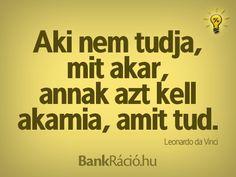 Aki nem tudja, mit akar, annak azt kell akarnia, amit tud. - Leonadro da Vinci, www.bankracio.hu idézet