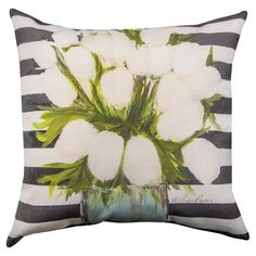 Manual Floral Fusion White Tulips Decorative Pillow - SLFFWT