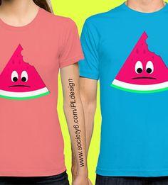Cute sad bitten piece of watermelon t-shirt by #PLdesign #summer #watermelon #cute