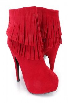 Red Fringe Trimmed High Heel Ankle Booties Faux Suede