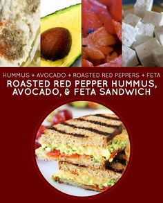 Roasted Red Pepper Hummus, Avocado  Feta Sandwich | 15 Meatless Lunch Sandwiches That Kids Will Love