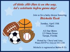 All-Star Baby Shower Invitation Sports Baby Shower Invitation in All-Star Theme for Baby Boys [ASTBL-INV] - $0.80 : The Invite Lady, Weddings, Graduation, Baby Showers, Bridal Showers, Save the Dates.