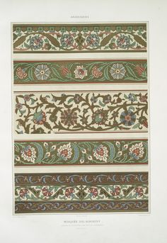 """'L'art Arabe', a rare collection of breathtaking set of plates (wood engraving, heliogravures and color lithographs) of the famous Islamic-Arab designs and ornaments published by the French art historian Prisse d'Avennes sometime during 1869 Border Pattern, Border Design, Pattern Art, Print Patterns, Pattern Design, Art Arabe, Art Nouveau, Islamic Patterns, Creative Textiles"