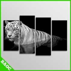 Large Tiger - Black & White | Animal - Split Canvas Wall Art Pictures - 4 Panels