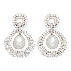 DAVID WEBB Pearl and Diamond Drop Earclips | From a unique collection of vintage drop-earrings at https://www.1stdibs.com/jewelry/earrings/drop-earrings/