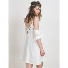 White Cut Out Cold Shoulder Lace Trumpet Sleeve Spaghetti Strap Dress (€18) ❤ liked on Polyvore featuring dresses, cutout dress, white cocktail dresses, cut out dress, white lace cocktail dress and white dress