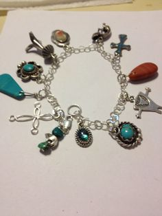 Sterling Charm Bracelet Navajo Hopi Turquoise Malachite Abalone MOP Silver 925 60s Kokopelli Cross Bear Fetish Native Tribal Jewelry Vintage on Etsy, $135.00